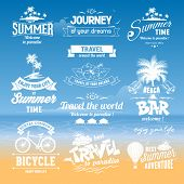 image of summer beach  - Set of hand drawn design elements for Summer calligraphic compositions - JPG