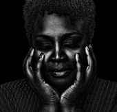 picture of afro  - Beautiful Emotional Image of a Pretty afro american woman - JPG