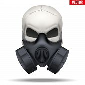 stock photo of respiration  - Human skull with Respirator mask - JPG