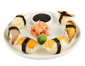 stock photo of soy sauce  - Nigirizushi sushi with a soy sauce - JPG