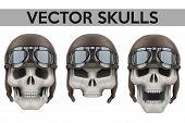 picture of biker  - Set of Human skulls with retro aviator or biker helmet - JPG
