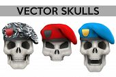 pic of beret  - Set of Vector Human skulls with military berets on head - JPG