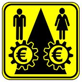image of equality  - Concept sign for equal pay for equal work especially for women - JPG
