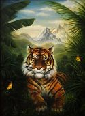 picture of jungle  - Tiger resting in the jungle landscape beautiful detailed oil painting on canvas - JPG