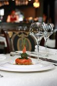 image of lenten  - Vegetarian creative food in luxurious restaurant - baked tomatoes in sauce ** Note: Shallow depth of field - JPG