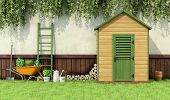 picture of door  - Garden with gardening tools and wooden shed with closed door  - JPG