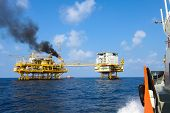 stock photo of offshore  - oil and gas construction in offshore for production - JPG