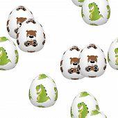 image of dinosaur-eggs  - Easter eggs seamless pattern on white background - JPG