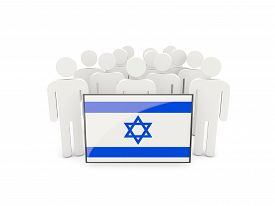 image of israel people  - People with flag of israel isolated on white - JPG