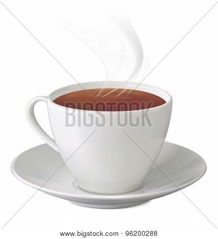 Cup Of Hot Tea With Steam And Saucer On White Background. Vector Illustration