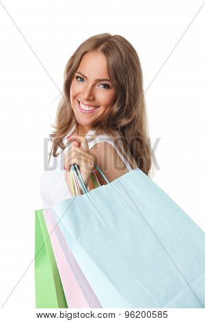 Pretty shopper Woman With Paper Bags