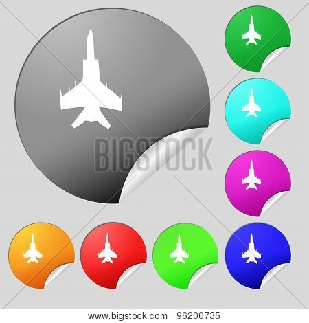 Fighter Icon Sign. Set Of Eight Multi Colored Round Buttons, Stickers. Vector