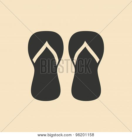 Flat in black and white mobile application slippers