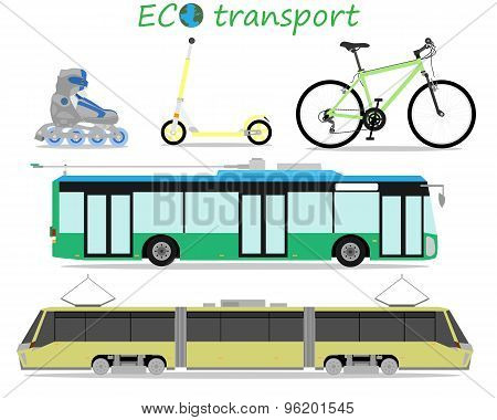 Icons of environmentally friendly urban transport. Vector illustration