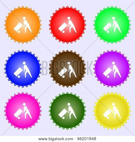 Loader Icon Sign. A Set Of Nine Different Colored Labels. Vector