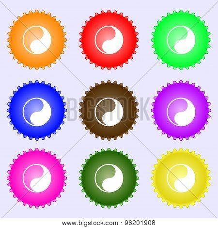 Yin Yang Icon Sign. A Set Of Nine Different Colored Labels. Vector