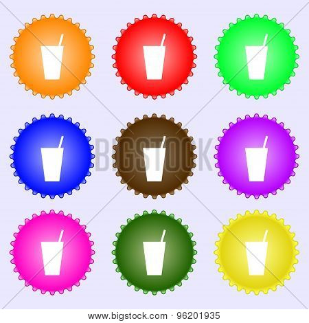 Cocktail Icon Sign. A Set Of Nine Different Colored Labels. Vector