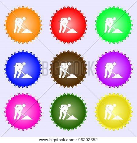 Repair Of Road, Construction Work Icon Sign. A Set Of Nine Different Colored Labels. Vector