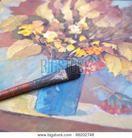 Autumn Still Life And Brush
