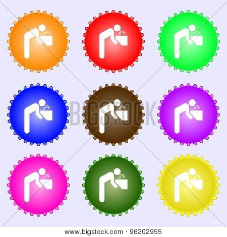 Drinking Fountain Icon Sign. A Set Of Nine Different Colored Labels. Vector