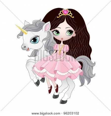 Beautiful princess with pink dress riding horse