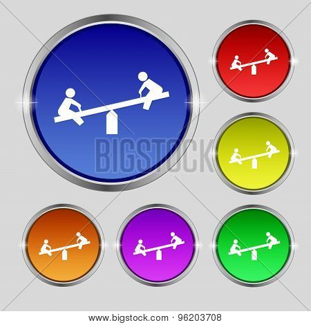 Swing Icon Sign. Round Symbol On Bright Colourful Buttons. Vector