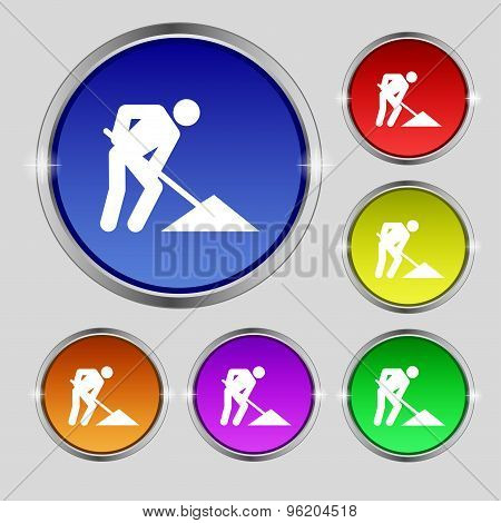 Repair Of Road, Construction Work Icon Sign. Round Symbol On Bright Colourful Buttons. Vector