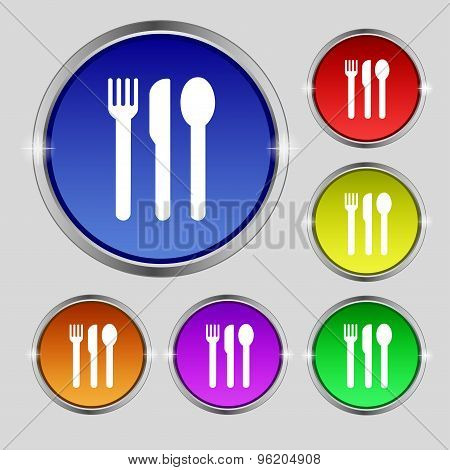 Fork, Knife, Spoon Icon Sign. Round Symbol On Bright Colourful Buttons. Vector