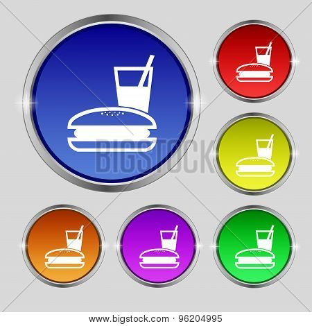Lunch Box Icon Sign. Round Symbol On Bright Colourful Buttons. Vector