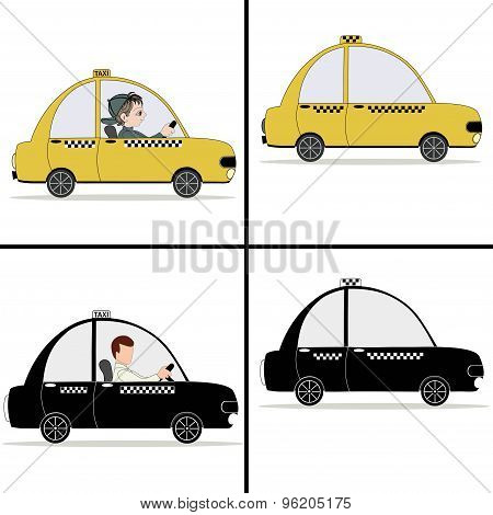 Black And Yellow Taxi Car And Taxi Driver