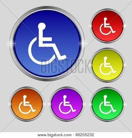 Disabled Icon Sign. Round Symbol On Bright Colourful Buttons. Vector