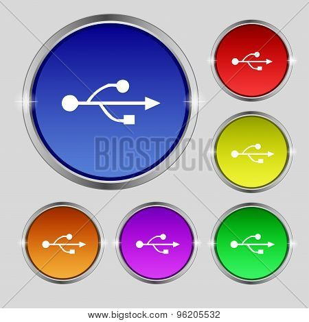 Usb Icon Sign. Round Symbol On Bright Colourful Buttons. Vector