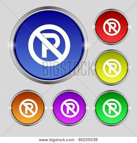 No Parking Icon Sign. Round Symbol On Bright Colourful Buttons. Vector