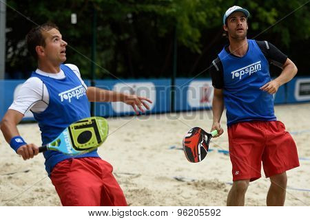 MOSCOW, RUSSIA - JULY 15, 2015: Vojtech Dohnal (left) and Jan Sykora of Czech Republic in action during the ITF Beach Tennis World Team Championship. 28 nations compete in the event this year