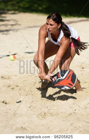 MOSCOW, RUSSIA - JULY 15, 2015: Klara Hladka of Czech Republic in action during the ITF Beach Tennis World Team Championship. 28 nations compete in the event this year