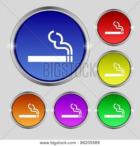 Cigarette Smoke Icon Sign. Round Symbol On Bright Colourful Buttons. Vector