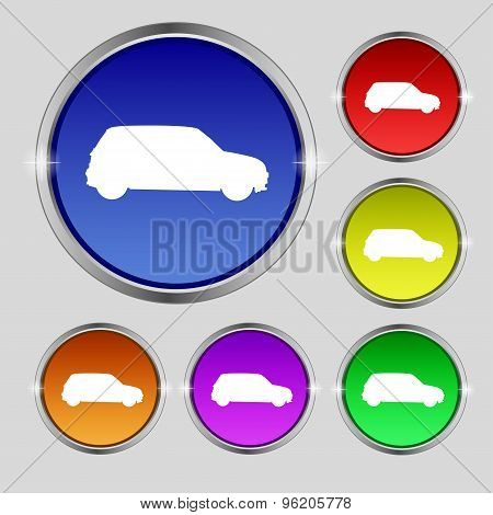 Jeep Icon Sign. Round Symbol On Bright Colourful Buttons. Vector