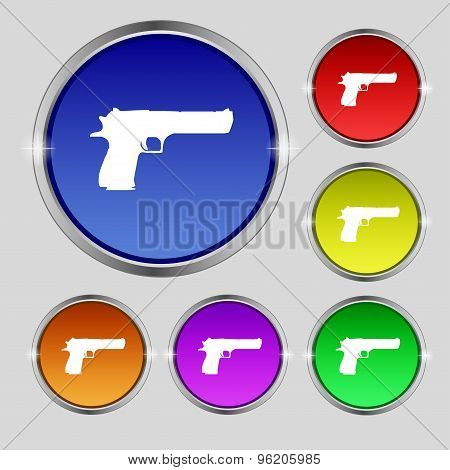 Gun Icon Sign. Round Symbol On Bright Colourful Buttons. Vector
