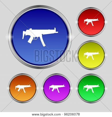 Machine Gun Icon Sign. Round Symbol On Bright Colourful Buttons. Vector