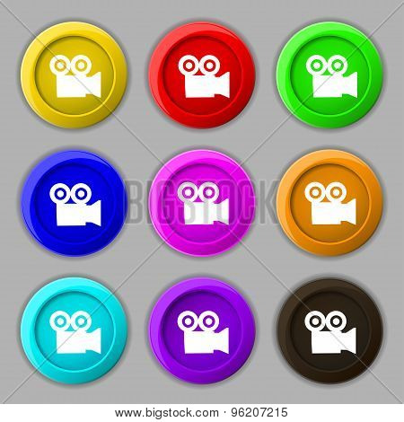 Video Camera Icon Sign. Symbol On Nine Round Colourful Buttons. Vector