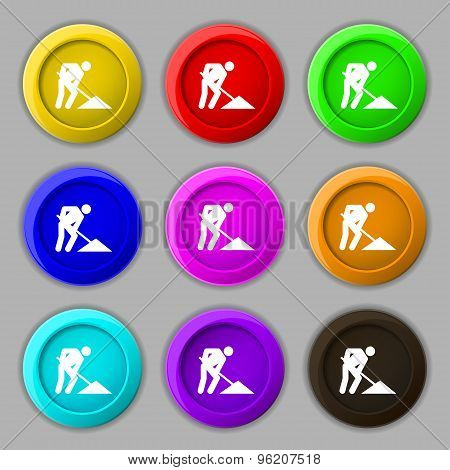 Repair Of Road, Construction Work Icon Sign. Symbol On Nine Round Colourful Buttons. Vector