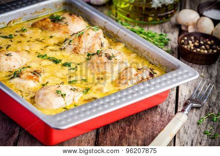 Baked Chicken Legs In Mustard Sauce With Mushrooms