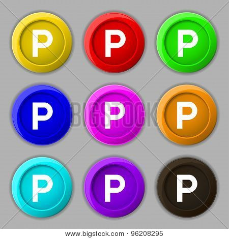 Parking Icon Sign. Symbol On Nine Round Colourful Buttons. Vector