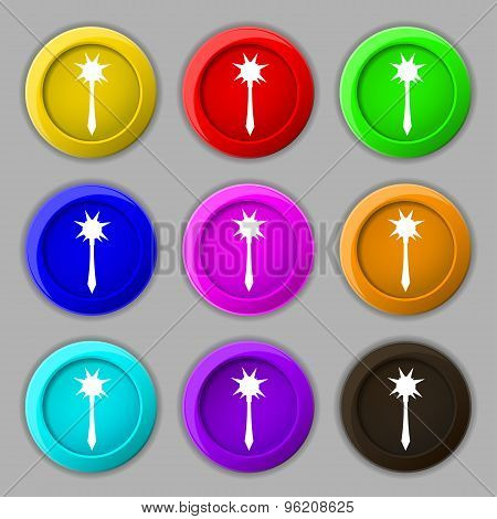 Mace Icon Sign. Symbol On Nine Round Colourful Buttons. Vector