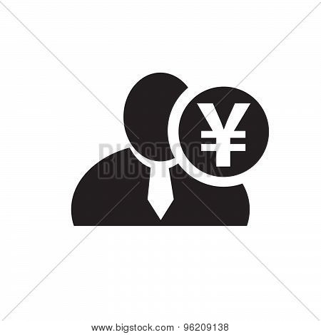 Black Man Silhouette Icon With Japanese Yen Symbol In An Information Circle, Flat Design Icon For Fo