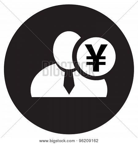 White Man Silhouette Icon With Japanese Yen Symbol In Black Circle, Flat Design Icon For Forums Or W
