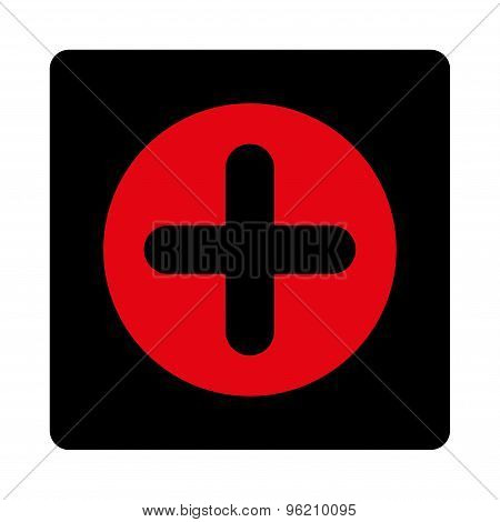 Create flat intensive red and black colors rounded button