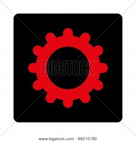 Gear flat intensive red and black colors rounded button
