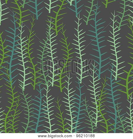 Algae Seamless Pattern. Green Long Plant Into  Sea Or A Lake. Vector Background Of Plants
