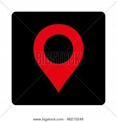 Map Marker flat intensive red and black colors rounded button